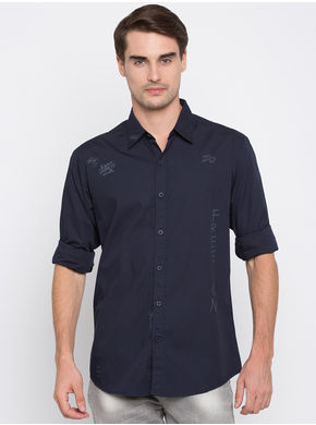 Spykar Printed Slim Fit Shirts,  navy, xl