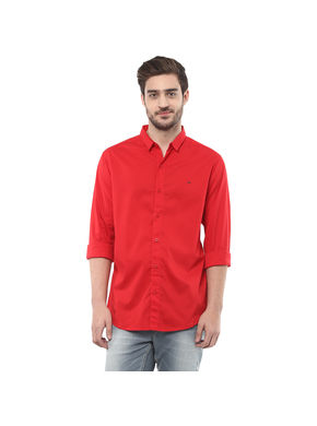 Solid Cutaway Slim Fit Shirt,  red, xl