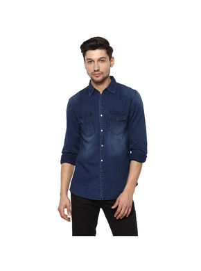 Solid Cut Away Shirt,  mid blue, l