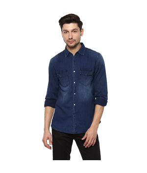 Solid Cut Away Shirt,  mid blue, m