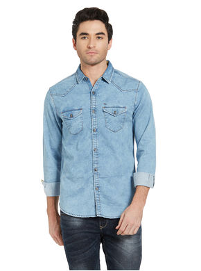 Denim Regular Slim Shirt, l,  light blue