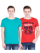 American-Elm Men's Pack Of 2 Round Neck T-Shirts- Turq, Red, xl