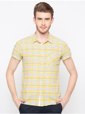 Spykar Regular Collar Checks Slim Fit Shirts,  yellow, l