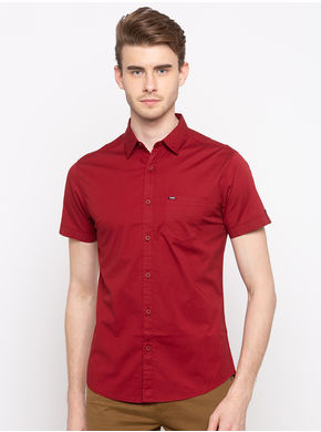 Spykar Regular Collar Slim Fit Shirts, xl,  red