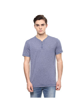 Henley Stand Collar Neck T-Shirt, s,  blue