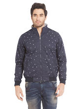 Printed Jacket In Relax Fit, blue, s