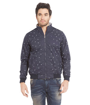 Printed Jacket In Relax Fit, s,  blue