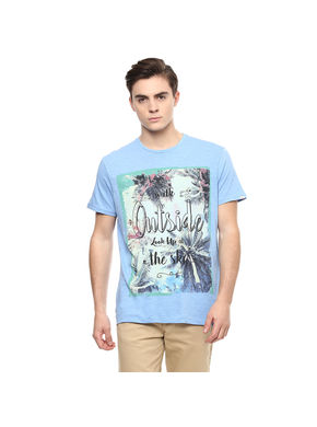 Washed Round Neck T-Shirt,  sky blue, m