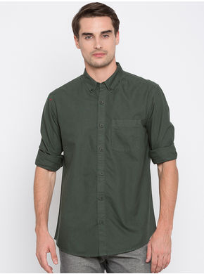 Spykar Solids Slim Fit Shirts,  olive, xl