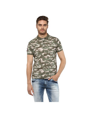 Printed Polo T-Shirt, xl,  olive