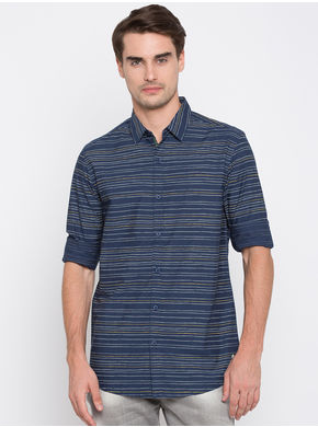 Spykar Striped Slim Fit Shirts, l,  navy