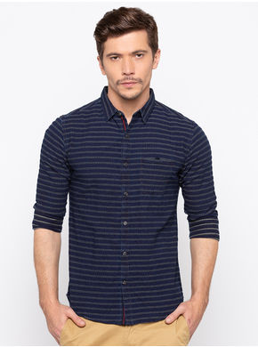 Spykar Regular Slim Fit Shirts,  indigo, xl