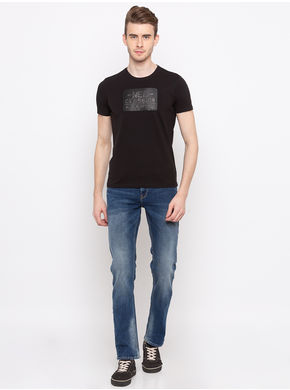 Spykar Round Neck Solids Slim Fit T-Shirts,  black, l