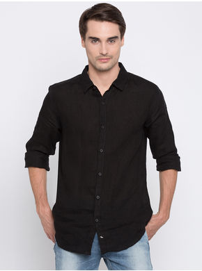 Spykar Solids Slim Fit Shirts,  black, m