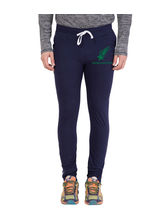 American-Elm Men's Navy Blue-Green Star Printed Track Lower, xxl
