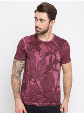 Printed Round Neck T-Shirts,  maroon, xl