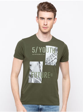 Spykar Round Neck Slim Fit T-Shirts,  dark olive, l