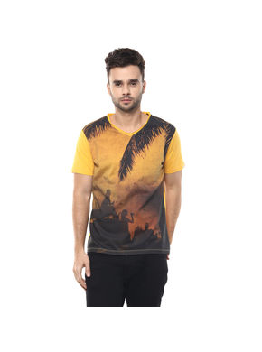 Printed V Neck T-Shirt,  mango, s