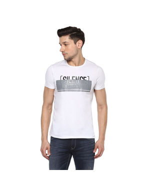 Printed Round Neck T-Shirt,  white, 2xl