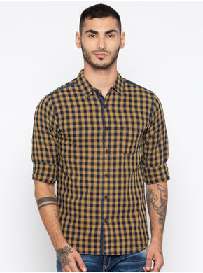 Spykar Checks Slim Fit Shirts, m,  camel