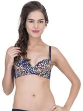 StayFit Flower Printed Lightly Padded Push Up Bra (A1234blue), 36b