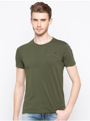 Spykar Round Neck Slim Fit T-Shirts,  dark olive, m