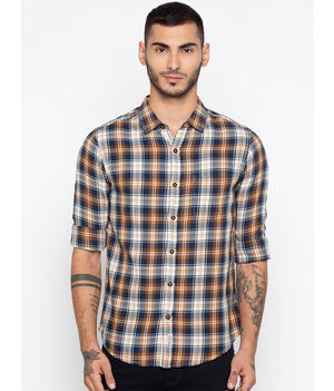 Spykar Checked Slim Fit Shirts,  navy/brown, m
