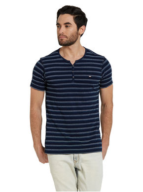 Striped Henley Slim Fit T-Shirt, l,  indigo