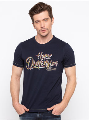 Spykar Round Neck Slim Fit T-Shirts, m,  navy