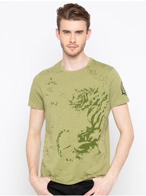 Spykar Round Neck Slim Fit T-Shirts,  light olive, l