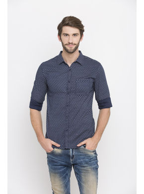 Spykar Printed Slim Fit Shirts, xl,  navy