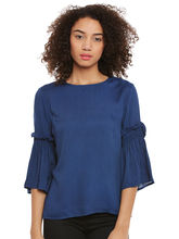 Femella Blue Blouse With Flared Sleeves, xl