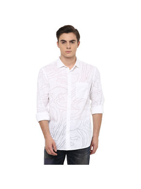 Print Cut Away Slim Fit Shirt,  white, xl