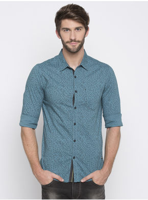 Spykar Printed Slim Fit Shirts, m,  slate