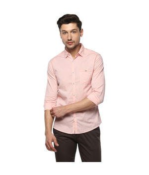 Stripes Mandarin Collar Shirt, 2xl,  peach