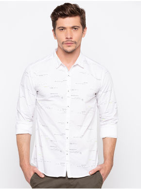 Spykar Slim Collar Prints Slim Fit Shirts, xl,  white