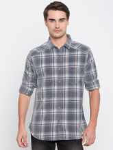 Spykar Checked Slim Fit Shirts, grey white, m