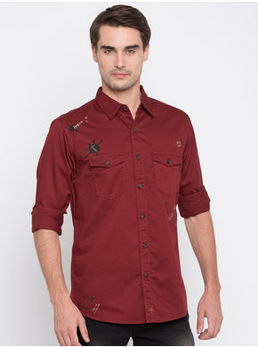 Spykar Printed Slim Fit Shirts,  maroon, l