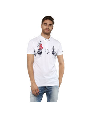 Solid Polo T-Shirt, l,  white