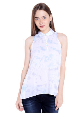 Printed Collar Top, xl,  white