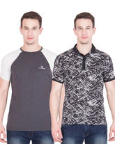 American-Elm Men's Pack of 2 Cotton Tshirts, s, multicolor