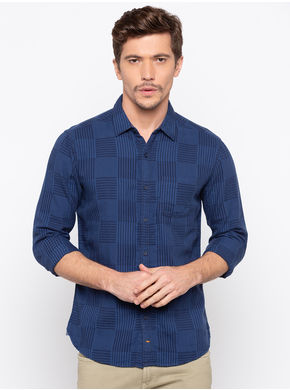 Spykar Regular Slim Fit Shirt, xl,  navy
