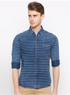 Spykar Regular Slim Fit Shirt, l,  indigo