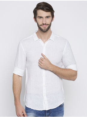 Spykar Solids Slim Fit Shirts,  white, l
