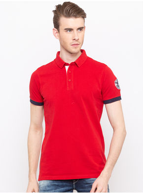 Spykar Polo Neck Slim Fit T-Shirts, l,  red