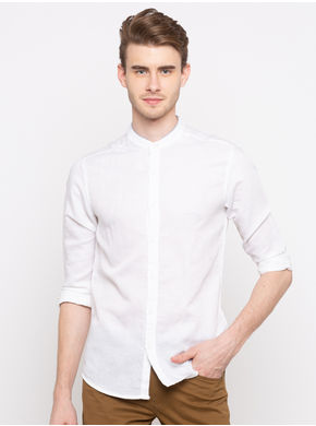 Spykar Mandarin Collar Slim Fit Shirts,  white, m