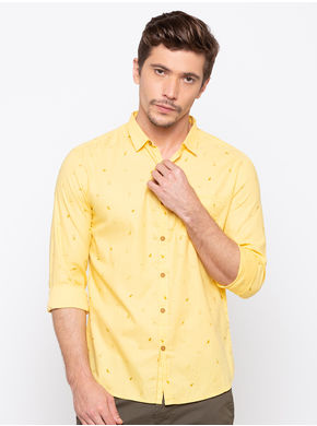 Spykar Slim Collar Slim Fit Shirts,  yellow, m