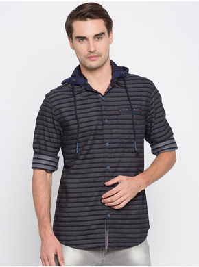 Spykar Stripes Slim Fit Shirts,  navy, l