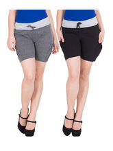 American-Elm Women's Hot Shorts (Pack Of 2) Dark Grey, Black, m