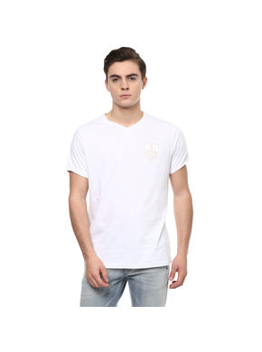 Solid V Neck T-Shirt,  white, m